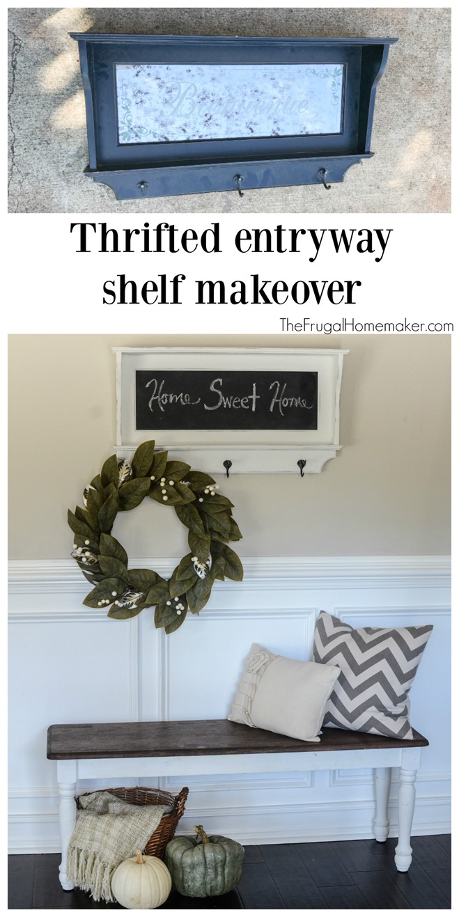 Thrifted entryway shelf makeover