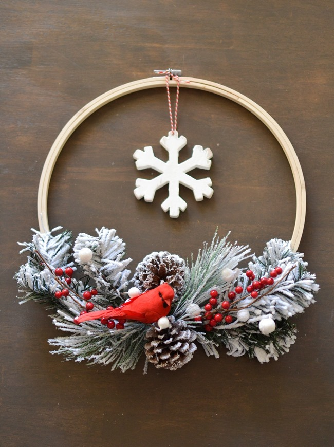 DIY Christmas Hoop Wreath-3