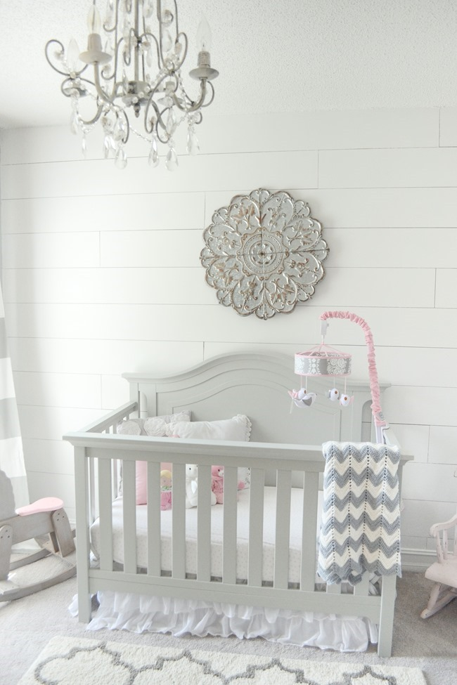 Gray and white girls nursery-5