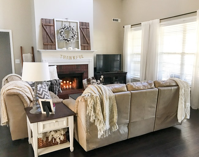 Neutral Farmhouse Fall Mantel and Living Room-1-2