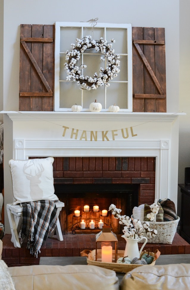 Neutral Farmhouse Fall Mantel and Living Room-3