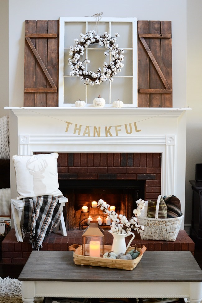 Neutral Farmhouse Fall Mantel and Living Room-9