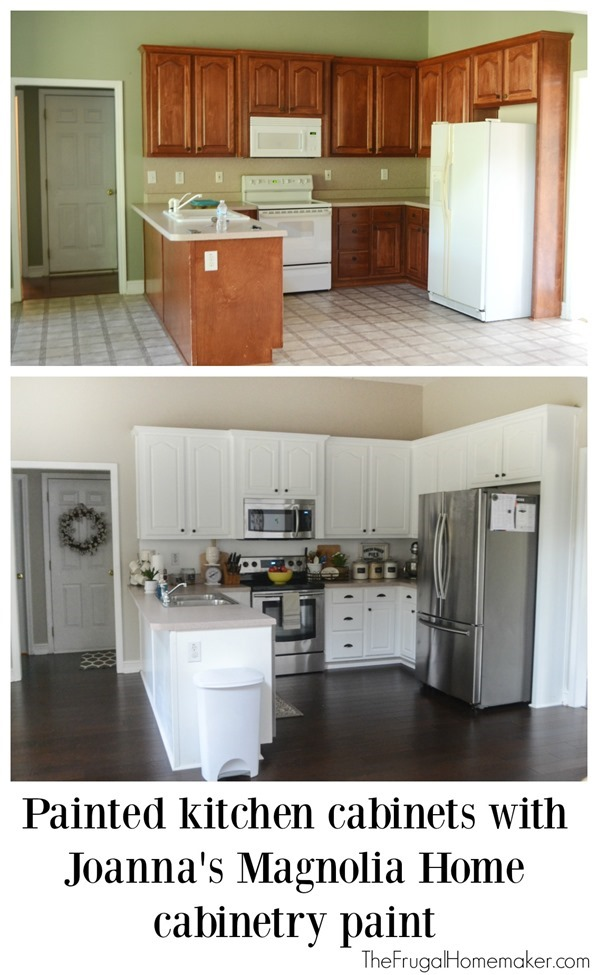 Painted kitchen cabinets with Magnolia Home paint