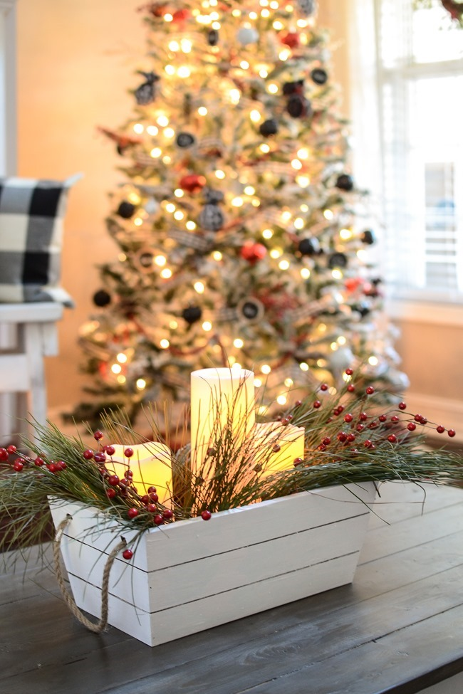Buffalo Check Inspired Christmas Living Room-1-2