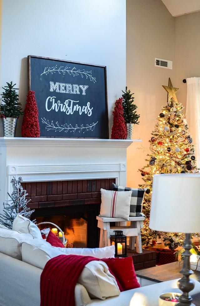 Buffalo Check Inspired Christmas Living Room-10