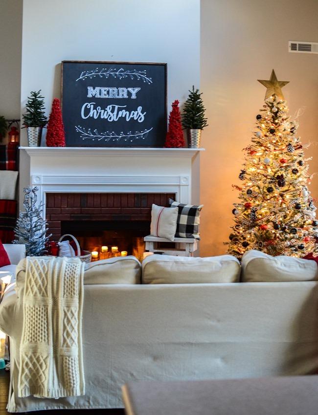 Buffalo Check Inspired Christmas Living Room-11