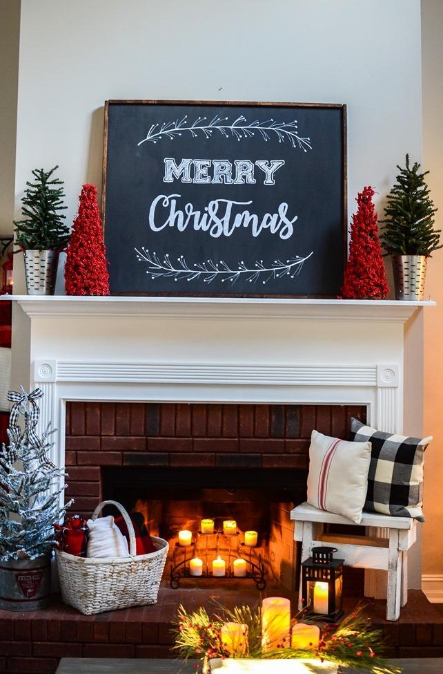 Buffalo Check Inspired Christmas Living Room-13