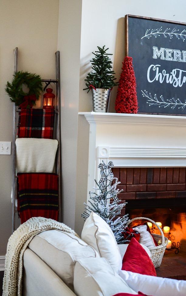 Buffalo Check Inspired Christmas Living Room-14