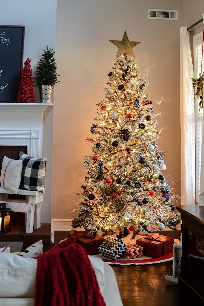 Buffalo Check Inspired Christmas Living Room-15
