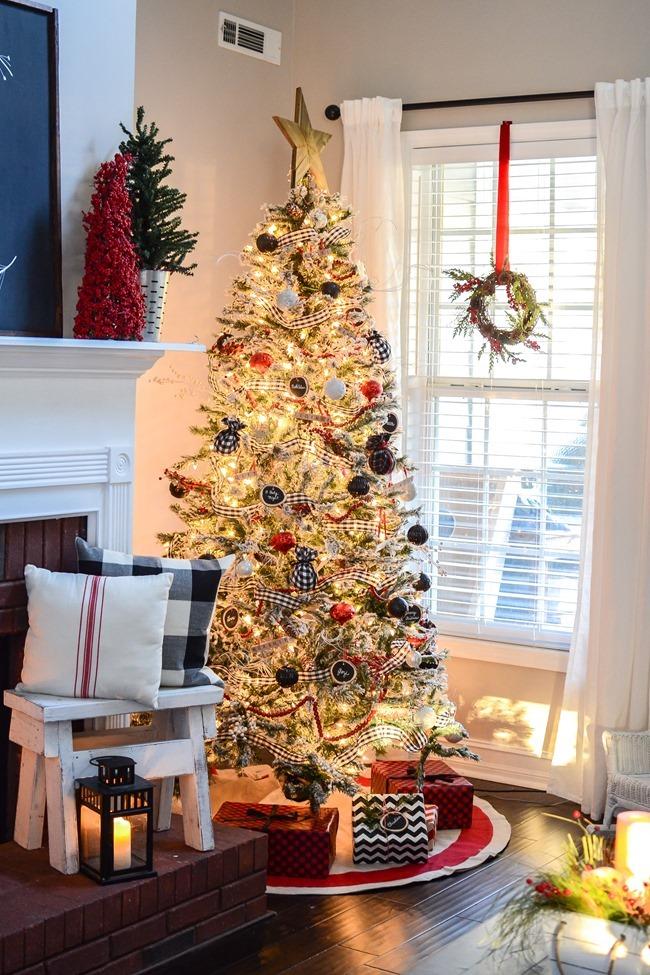 Buffalo Check Inspired Christmas Living Room-18