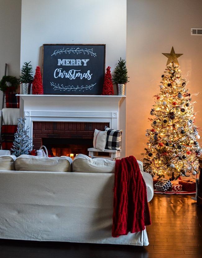 Buffalo Check Inspired Christmas Living Room-22