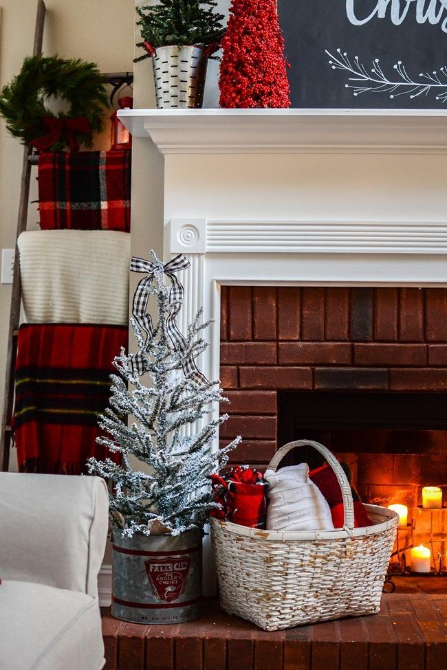 Buffalo Check Inspired Christmas Living Room-29