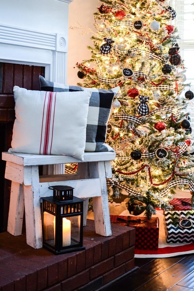Buffalo Check Inspired Christmas Living Room-6