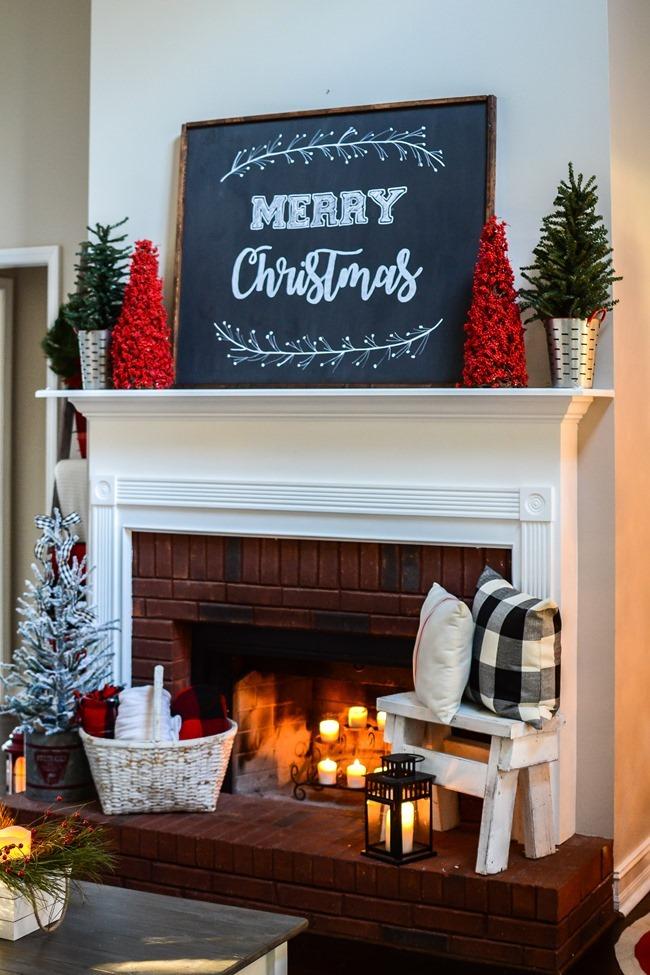 Buffalo Check Inspired Christmas Living Room-8
