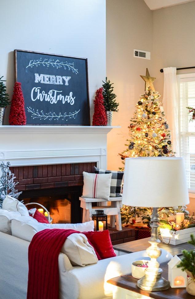 Buffalo Check Inspired Christmas Living Room-9