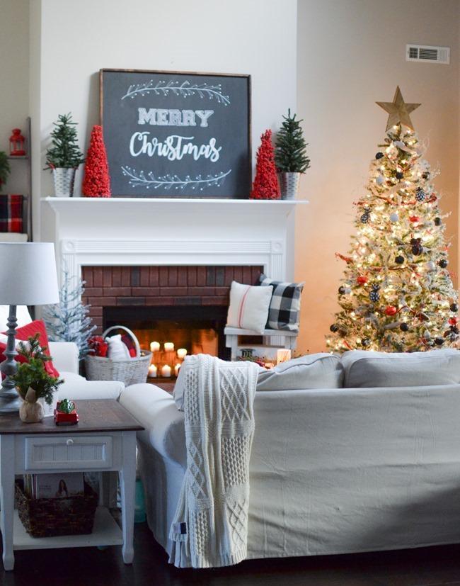 Buffalo check inspired Christmas living room