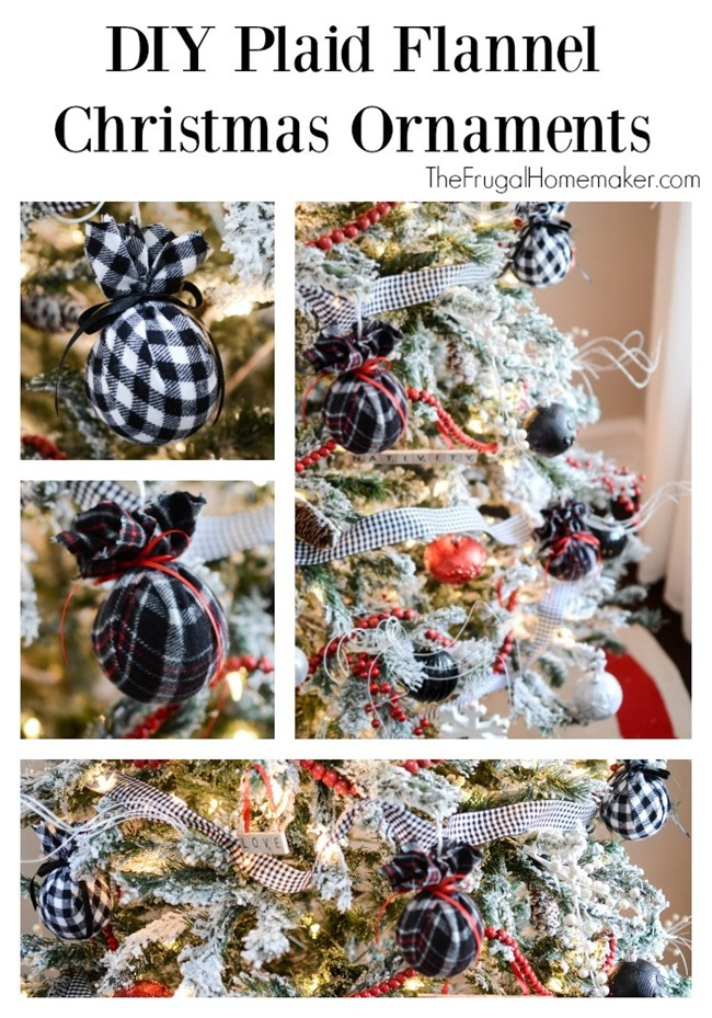 DIY Plaid Flannel Christmas Ornaments