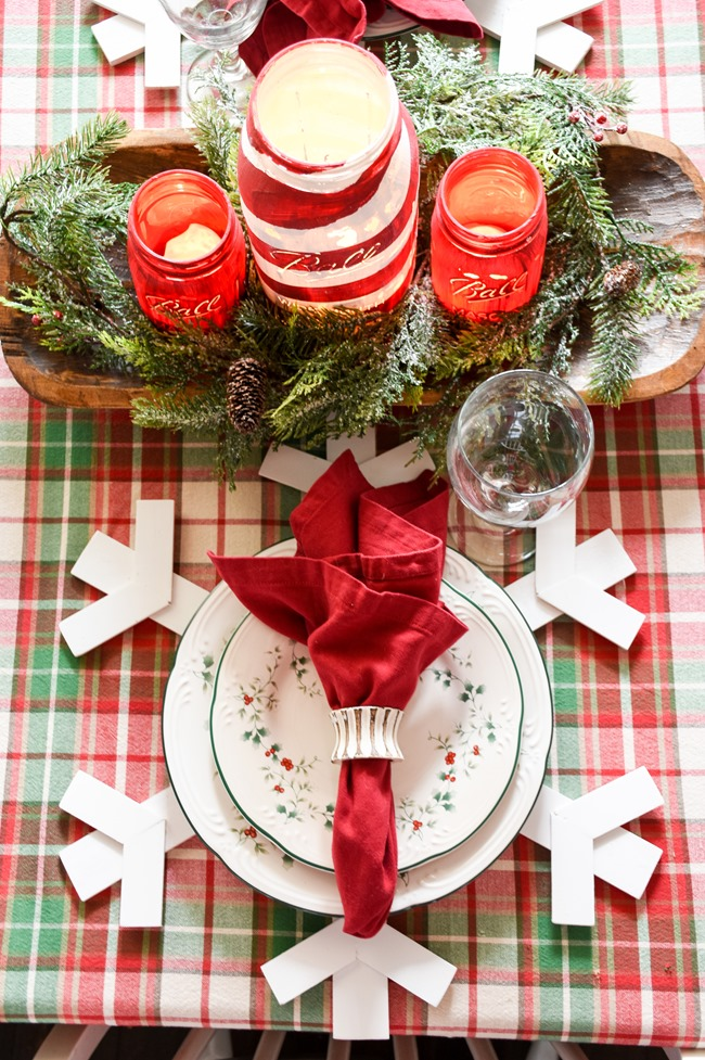 DIY Wood Snowflake Chargers + Christmas tablescape