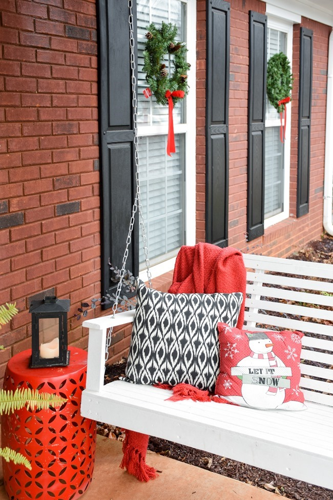 Snowy Southern Christmas Front Porch-16
