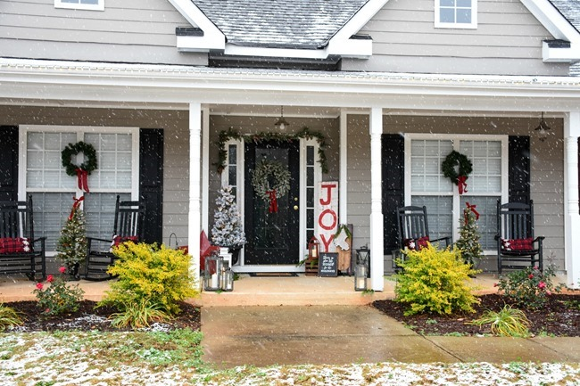 Snowy Southern Christmas Front Porch-2