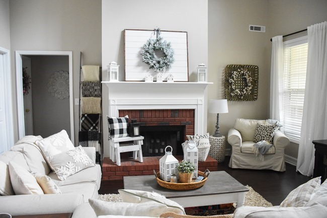 Winter White Mantel + Living Room