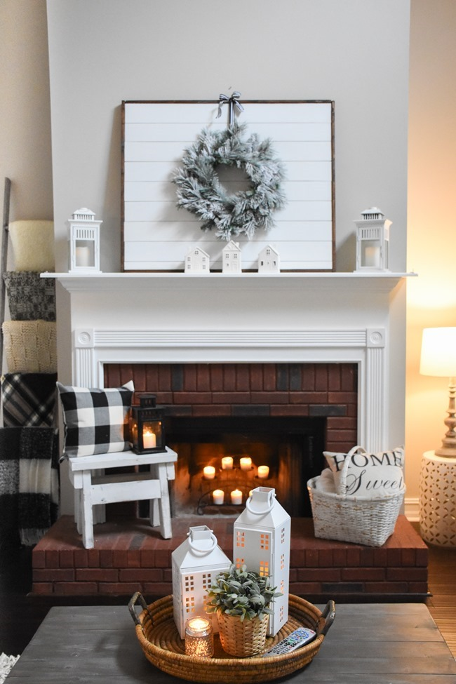 Winter mantel and winter living room-23