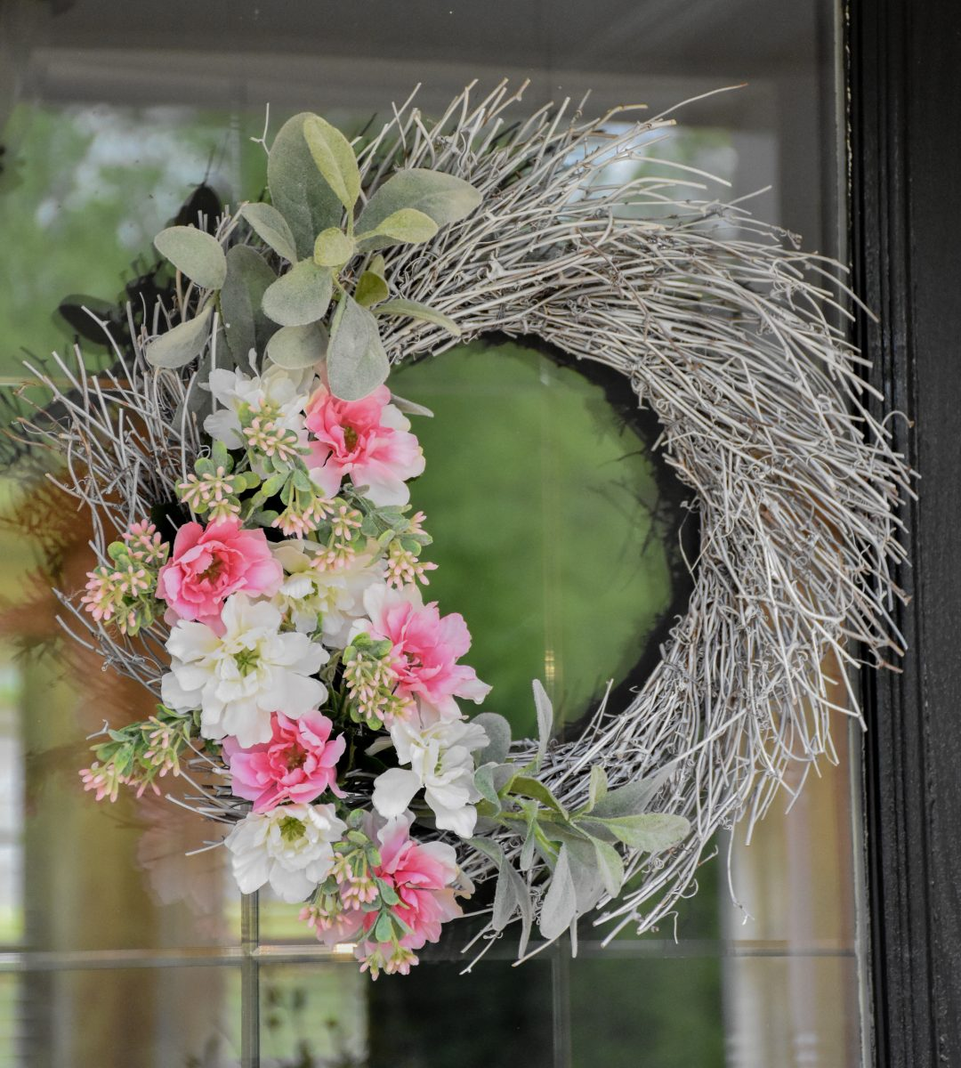Lamb's Ear and Pink Peony Spring Wreath