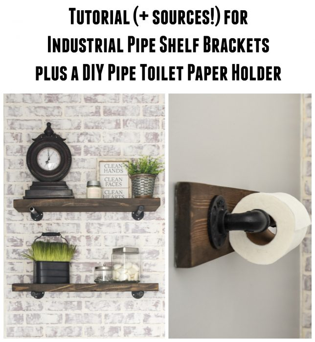 DIY Rustic Wood Shelves + DIY toilet paper holder made with plumbing