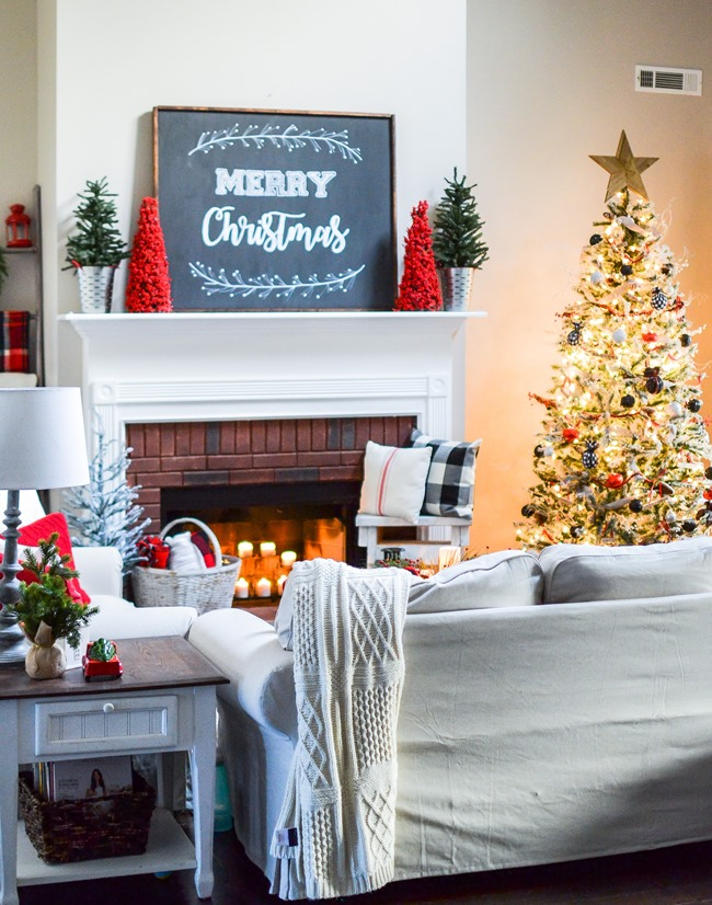 Buffalo Check Inspired Christmas Living Room-38