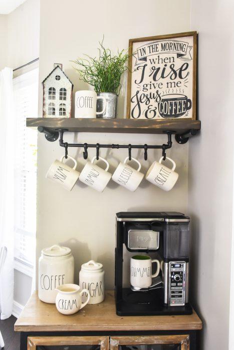 Farmhouse Coffee Bar With Diy Floating Shelf And Mug Rack The Frugal Homemaker