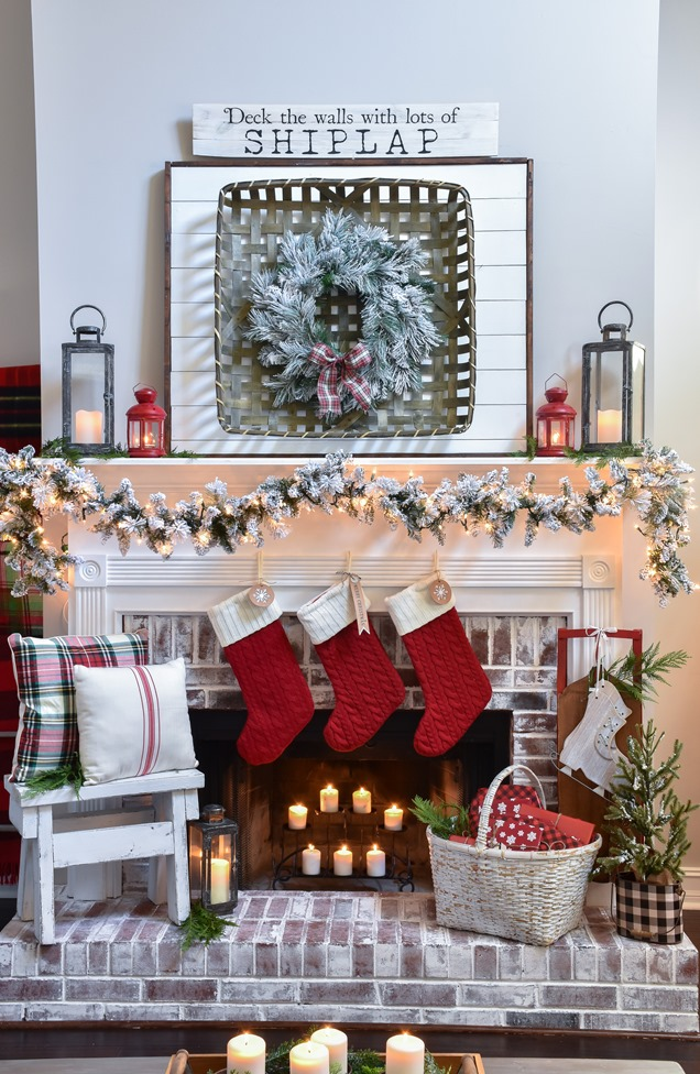 Plaid Farmhouse Christmas Tree and Mantel (14 of 43)
