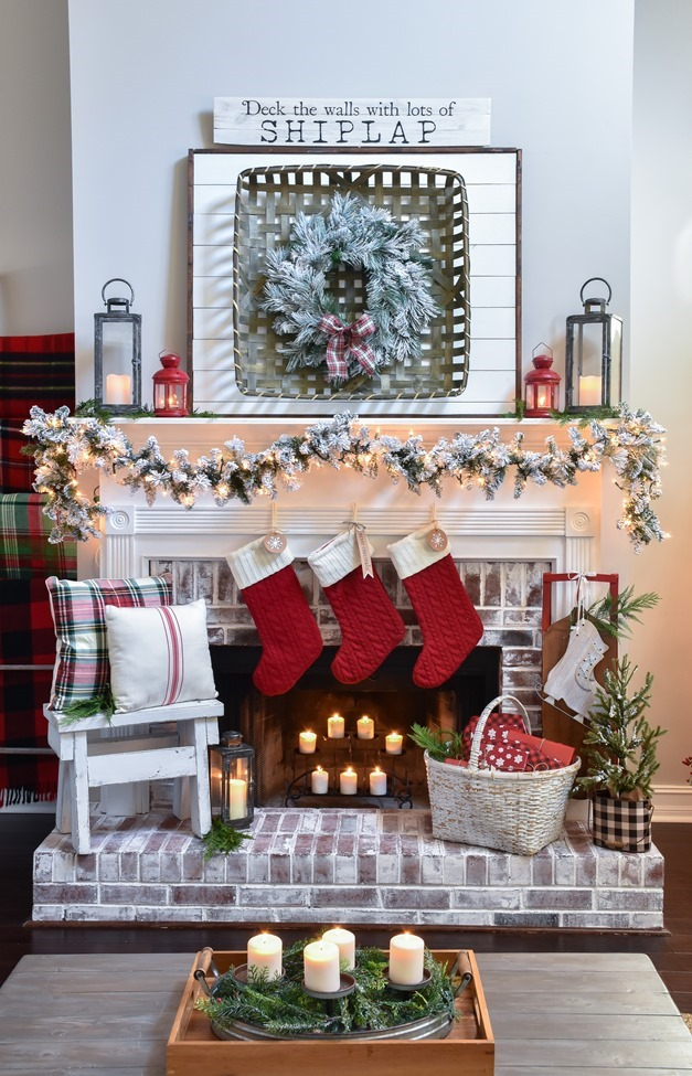 Plaid Farmhouse Christmas Tree and Mantel (16 of 43)