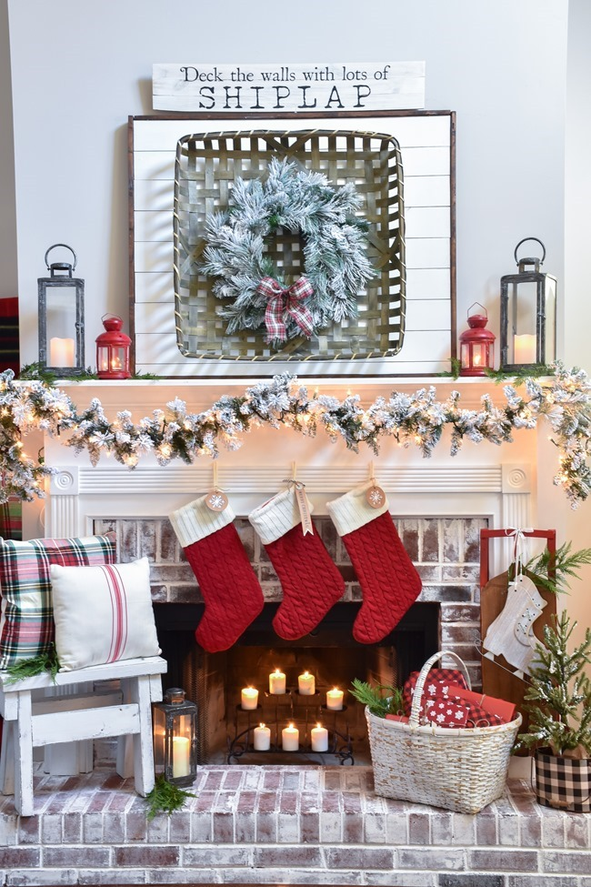 Plaid Farmhouse Christmas Tree and Mantel (17 of 43)
