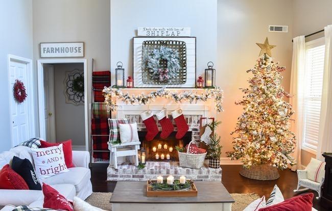 Plaid Farmhouse Christmas Tree and Mantel (20 of 43)[3]