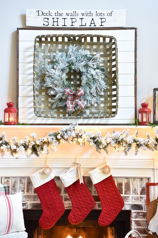 Plaid Farmhouse Christmas Tree and Mantel (34 of 43)