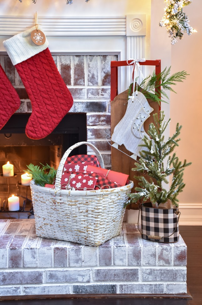 Plaid Farmhouse Christmas Tree and Mantel (38 of 43)