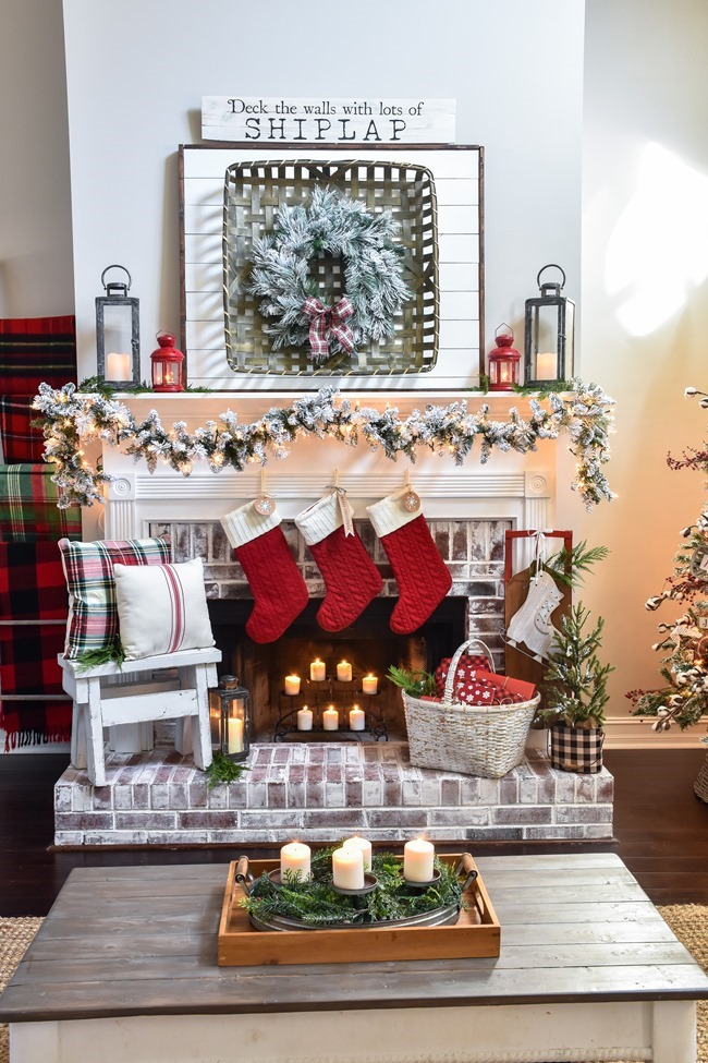 Plaid Farmhouse Christmas Tree and Mantel (5 of 43)