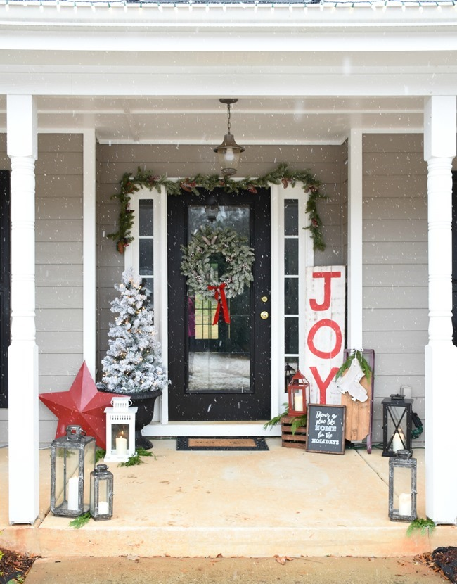 Snowy Southern Christmas Front Porch-13