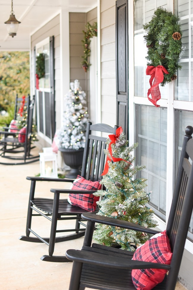 Snowy Southern Christmas Front Porch-21