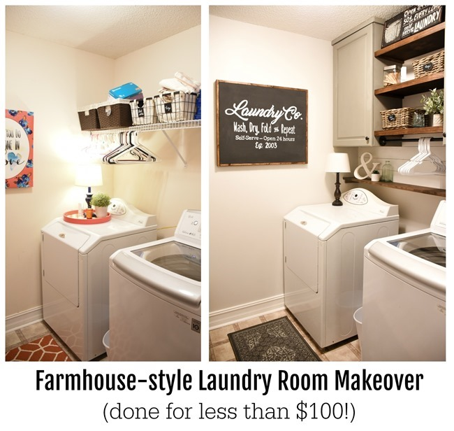 Farmhouse style Laundry Room Makeover
