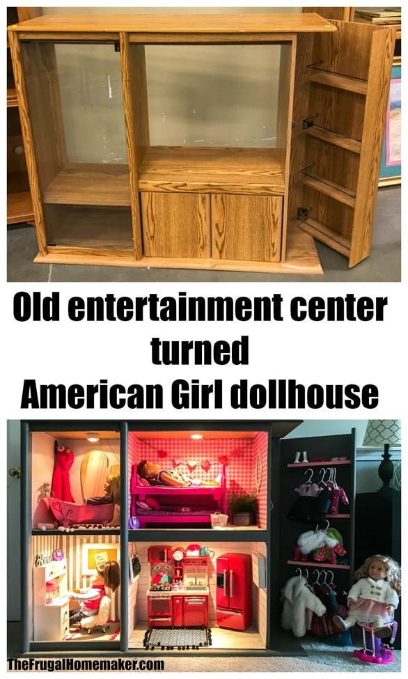 Old Entertainment Center turned American Girl dollhouse