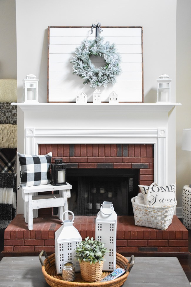Winter mantel and winter living room-7