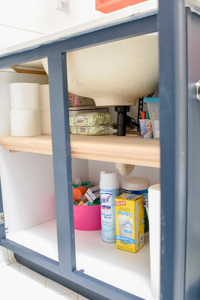Bathroom Organizing DIY_ How To Easily Double The Storage Capacity Under Your Sink For Cheap #organization #diyhacks #bathroomstorage #organizei