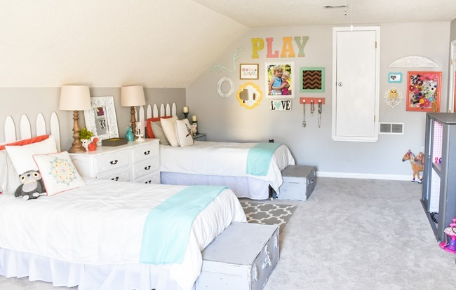Girls cottage themed bedroom and playroom makeover-11