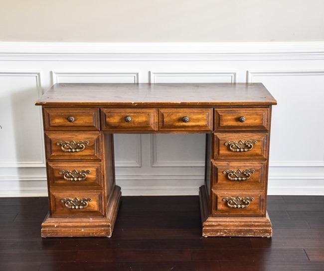 Thrift store desk makeover with Rustoleum Milk Paint-1