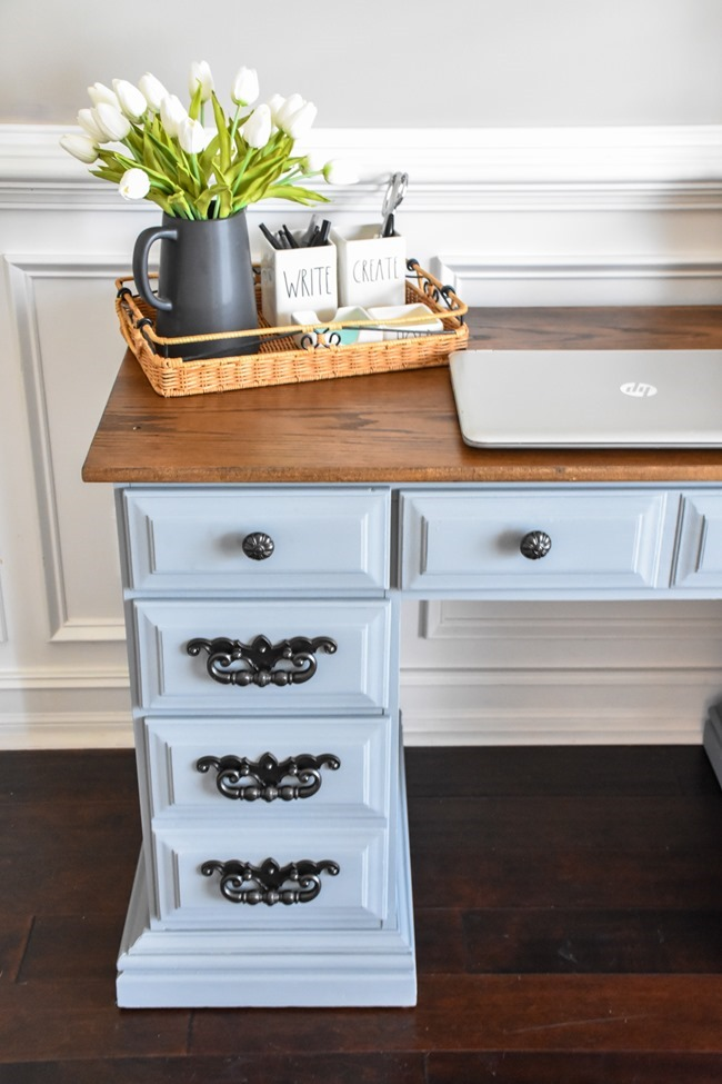 Thrift store desk makeover with Rustoleum Milk Paint-12