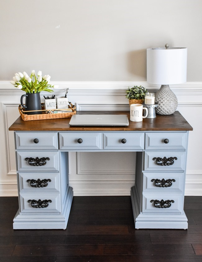 Thrift store desk makeover with Rustoleum Milk Paint-17