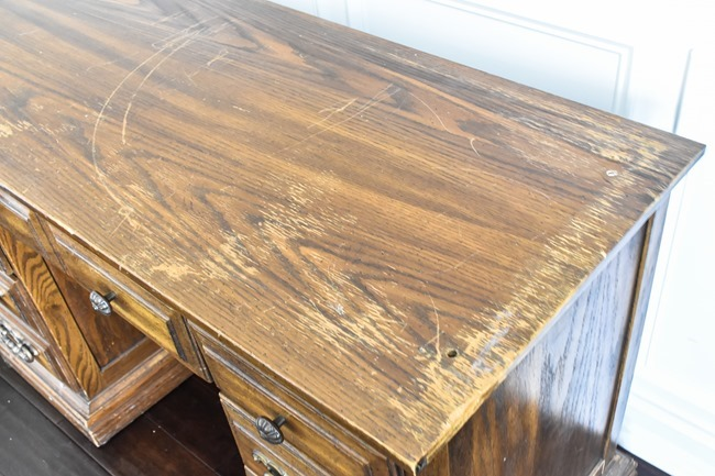 Thrift store desk makeover with Rustoleum Milk Paint-3