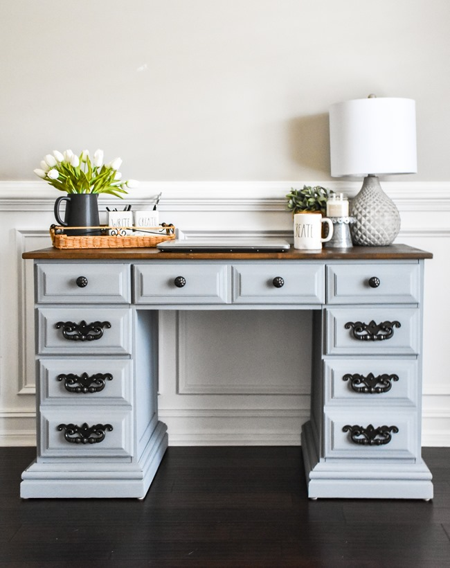 Thrift store desk makeover with Rustoleum Milk Paint-9