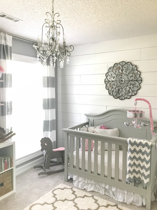 Gray and white girls nursery-8